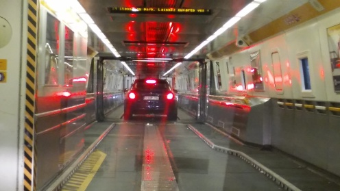 Inside the Train that takes you through the Tunnel to England