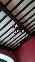 The wooden ceiling is a beautiful detail