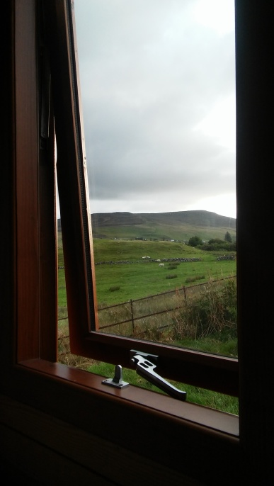 The window over the bed. In the mornings we would be wakened by sheep and sunshine. If there was any. Sunshine, that is. There are always sheep in the Highlands and Islands.