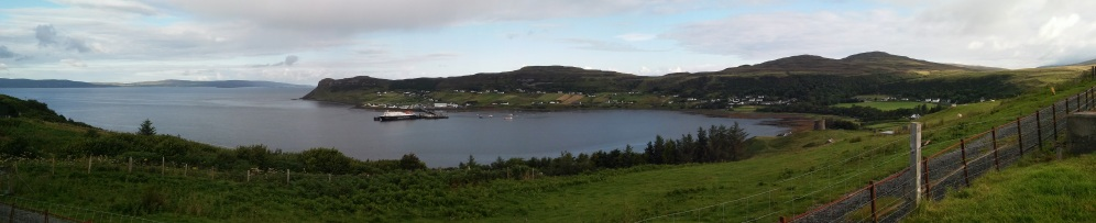 A panoramic view over Uig Bay as seen from The Cowshed