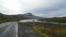 The Old Man of Stor as seen from the A 855 going north (from Portree to Staffin)